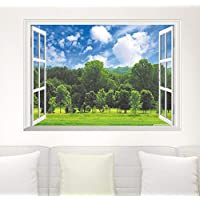 Forest Tree Blue Sky Wall Stickers Decoration 3D False Window View Landscape Wallpaper Living Room Poster Decorative Home Decals