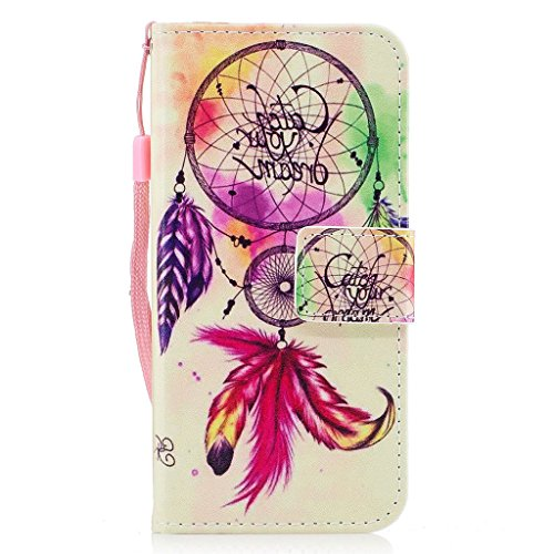 iPhone 6 Hülle,Fodlon® Mode Gemalt Karte Schlitze mit Schlüsselband Telefon Schutzhülle -Weiße Katze Windspiele