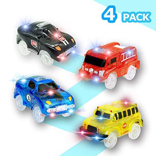 Rennauto Rennwagen mit LED Licht, Leuchtend Rennwagen Polizeiauto Feuerwehrauto Schulbus Spielzeug Auto Kompatibel mit Autorennbahn Twister Tracks, Magic Auto für Kinder Junge Mädchen, 4-Pack