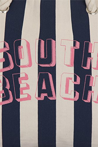 South Beach, Groß Damen Sommer Strand Einkauf Tragetasche Marine Streifen