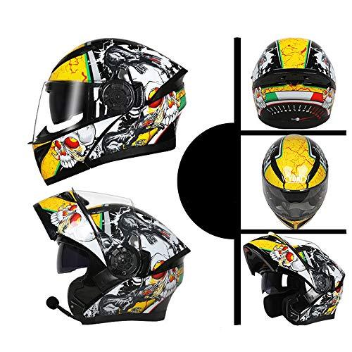 Zona Elegent Bluetooth Helm Double Lens Elektro Motorrad Vier Jahreszeiten Universal Jethelm Integralhelm - Multicolor - Persönlichkeit Muster - Groß Bezaubernd (Color : Yellow, Size : L) -