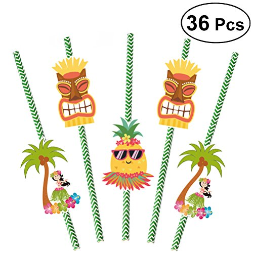 LUOEM 36pcs pajas de beber de papel Lula hawaianas tropicales decoraciones del partido suministros