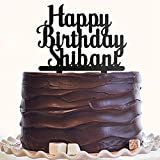#7: Happy Birthday Cake Topper (Personalised) in Black by Engrave