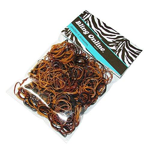 Bling Online 500pcs Hair Braiding Elastics Mini Small Rubber Bands Braid or Plait (BROWNS). by Bling Online