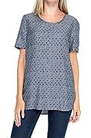 0039 Italy Damen Shirt Seiden Shirt, Farbe: Grau