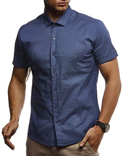 LEIF NELSON Herren Hemd Kurzarm Slim Fit T-Shirt Kentkragen | Stylisches Männer Freizeithemd Stretch Kurzarmhemd | Jungen Basic Shirt Freizeit Sweater Sommerhemd | LN3710 H. Blau Large