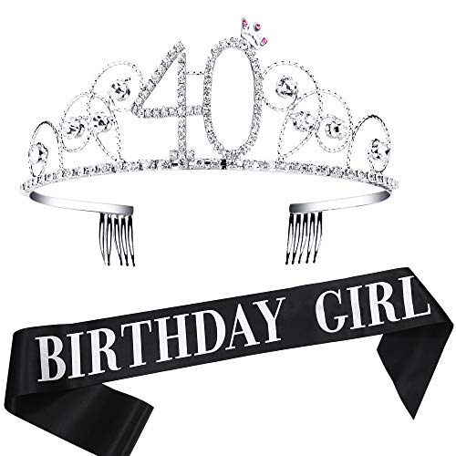 Coucoland Geburtstag Krone mit Geburtstag Schärpe Satin Birthday Crown and Sash Set Geburtstagsdeko Geschenk für Damen Geburtstag Party Accessoires (40 Jahre alt - Silber)