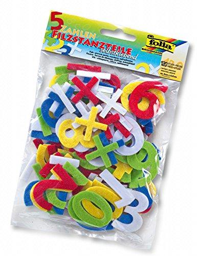 folia 5262 - Filzstanzteile Zahlen, selbstklebend, 120 Stück, farbig sortiert, je ca. 4,5 cm groß (Buchstaben Selbstklebende)