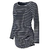 Umstandsmode Damen Tshirt Still Umstands Langarmshirt Streifen Maternity Stillshirt Umstandsshirt Oberteile Bluse Tops Rundhals Grau Marine Rot.