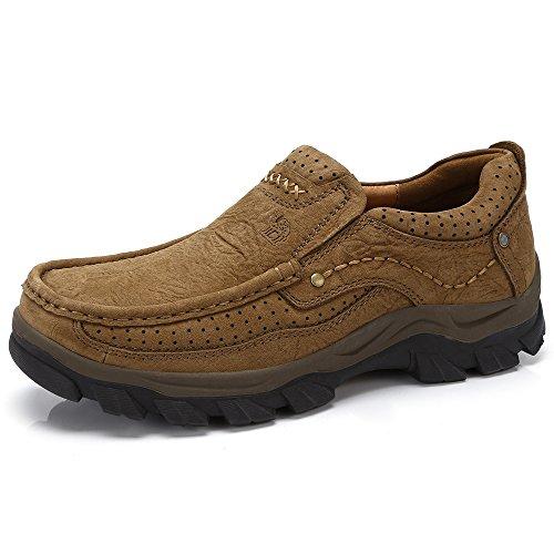 Mocassini uomo di pelle bucciata comode loafers scarpe casual sneaker uomo sneaker basse uomo (uk9=eu43=10.43in feet length, bronze)