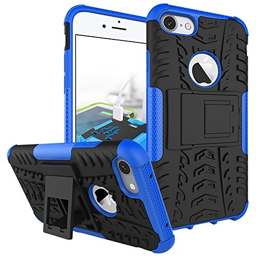 iPhone 8 Plus Heavy Duty Coque DWaybox Hybrid Rugged Armor Hard Back Housse Coque pour Apple iPhone 8 Plus 5.5 Inch Stand Coque avec Kickstand (Purple) Blue