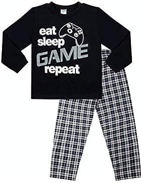 Pijama largo para niños con mensaje: «Eat Sleep Game Repeat», talla de 9 a 13 años, color azul