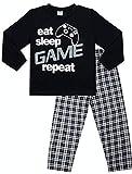 """Jungen """"Eat Sleep Game Repeat"""", langer Schlafanzug, 9bis 13Jahre, Gamer Pyjama, blau Gr. 13-14 Jahre 158-164 cm, blau (Textilien)"""