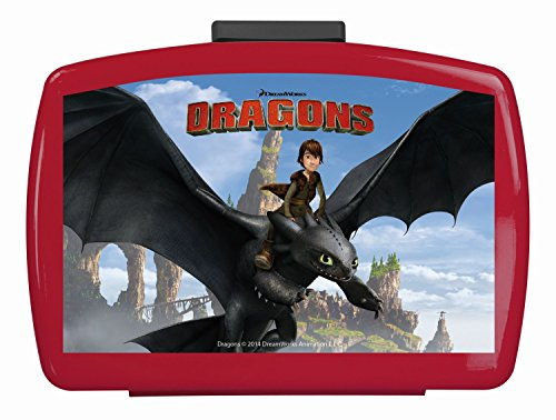 Preisvergleich Produktbild p:os 23715 - Brotdose Dragons mit Einsatz, 16 x 12 x 6.5 cm