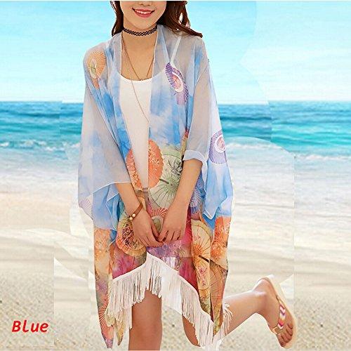 Surker New Mode Femmes Tassel Anti-Sun Beach Chales Blanc