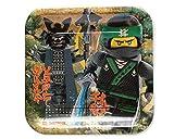 Amscan 551716 Geschirr, Lego Ninjago, Quadratischer Teller, 23 cm 8 Stück