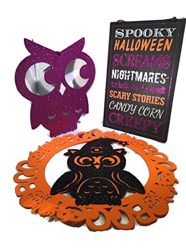 Unbekannt Halloween Deko Bundle (3) Items- Spooky Halloween-Zeichen, lila Glitzer Eule, und Schwarz/Orange Eule aus Filz