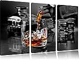 Whiskyglas auf Tisch3-Teiler Leinwandbild 120x80 Bild auf Leinwand, XXL riesige Bilder fertig gerahmt mit Keilrahmen, Kunstdruck auf Wandbild mit Rahmen, gänstiger als Gemälde oder Ölbild, kein Poster oder Plakat