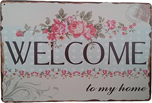 """Welcome to my home"" Metall Dose Wandschild ""Decor Retro Shabby Chic tukoh"