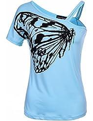 Impresión de la Mariposa Camiseta sin Tirantes de Algodón de la Correa Camiseta de Señoras , Azul , Metro