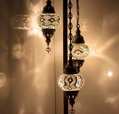 Floor Lamps & Lampshades - Stunning Turkish, Moroccan, Ottoman Style Mosaic, Multicolour Floor Lamp Light, Moroccan Style, 3 Medium Globe