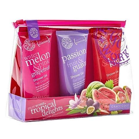 Grace Cole Tropical Fruit Works Delights Gel douche Set: Rose