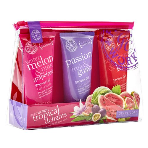 Grace Cole Tropical Fruit Works Delights Gel douche Set: Rose Rouge
