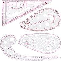 4 Piezas de Regla Métrica Francesa, Juego de Regla Métrica de Moda de Plástico Regla Curva Francesa Conjunto de Herramientas de Costura Medir para DIY Ropa