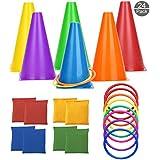 OOTSR [Paquete de 24 Juegos de Lanzamiento de Anillos, Conos, Bolsas de Frijoles, 3 en 1 Juego al Aire Libre para Niños y Adultos