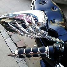 ViZe 10 mm retrovisores laterales espejo trasera universal para Honda Kawasaki Suzuki BMW KTM Truimph Hyosung Chopper Street Sport Bike diseño plata