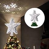 Weihnachtsbaum Stern mit LED Schneeflocke 3D Hollow Star Topper Projektor Tannenbaum Spitze Mehrfarben LED Schneeflockenprojektor Weihnachtlicher Zierschmuck -Silver