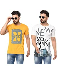 Tfortees Men's Cotton Round Neck Printed Half Sleeve Combo T-Shirt Pack of 2 (Multicolour)
