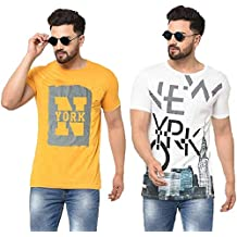 Tfortees Men's Cotton Round Neck Printed Half Sleeve Combo Tshirt - (Pack of 2)