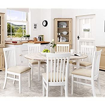 Florence White Round Extended Table (92-117Cm). 100% Hardwood