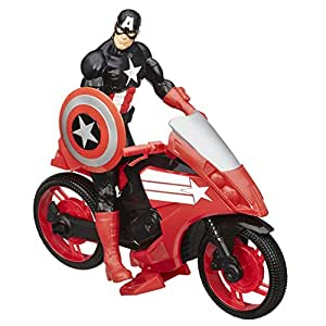 Avengers Titan Hero Series Captain America Figure with Defender Cycle Vehicle, Multi Color (12-inch)