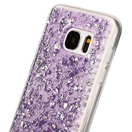 Moda Samsung Galaxy S6 Silicone Custodia, PLECUPE Ultra Thin Brillantini Shiny Glitter Lamina doro Crystal Trasparente Chiaro Caso Cover, Flessible Soft TPU Silicone Rubber Gel Anti-Scratch Full Body Viola