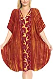 LA LEELA Boho Women Cotton Hand Batik Tunic Caftan Kimono Oversized Short Midi Loungewear Holiday Nightwear Everyday Beach Cover UP Plus Size Kaftan Orange_K233