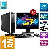HP PC Compaq Pro 6300 SFF I7-3770 16Go 250Go Graveur DVD WiFi W7 Ecran 17'