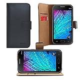 iProtect Samsung Galaxy J1 Kunstledertasche im Bookstyle schwarz Schutzhülle