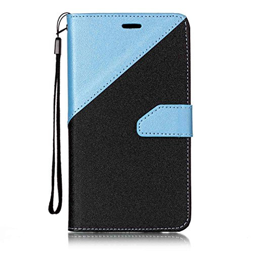 MoreChioce kompatibel mit Galaxy A5 2016 Lederhülle,Bunt Hülle kompatibel mit Galaxy A5 2016,Bookstyle Wallet Klappbar Stand Flip Ledertasche Magnetverschluß Schwarz + Himmel Blau,EINWEG -