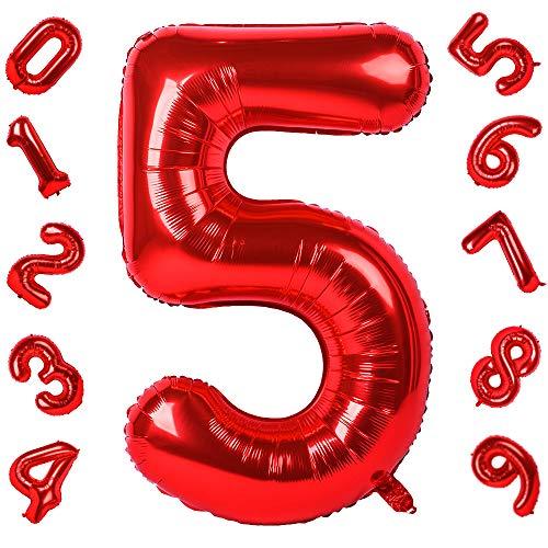 42 Pulgadas Grandes Globos Rojos Números 5, Jumbo Foil Helio Globos Digitales para Cumpleaños Fiesta de Aniversario de Boda Festival Decoraciones