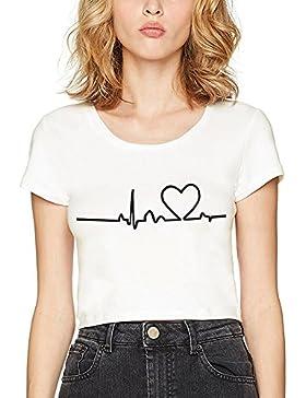 Camiseta Crop Mujer Tops Corta Shirt Impresión Verano T-Shirt Redondo Blanco Negro Blusa Básico Expuesto Fitness...