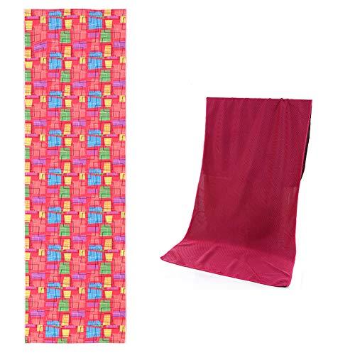 SUPEREX Sport-Kühlhandtücher, 101,6 x 30,5 cm, leicht, kompaktes Handtuch mit Clip-Haken, 2 Packungen, Square+red
