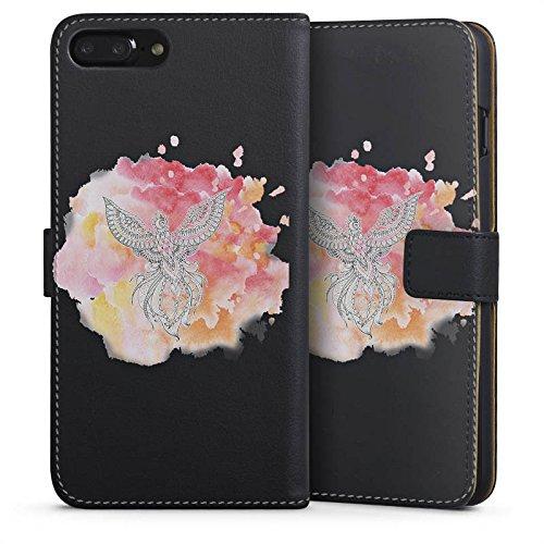 Apple iPhone 6 Plus Silikon Hülle Case Schutzhülle Pfau Mandala Aquarell Sideflip Tasche schwarz