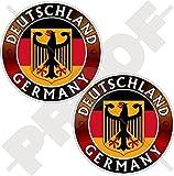 DEUTSCHLAND DEUTSCHLAND Flagge-Wappen Deutscher Adler, Deutsch 75mm Auto & Motorrad Aufkleber, x2 Vinyl Stickers