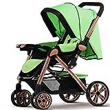 Silencioso, la moda, high-view, Económico, aleación de aluminio, suspensión, bidireccional y plegable Cochecito de bebé para para sentarse o acostarse azul verde
