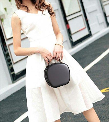 Xinmaoyuan Borse donna in pelle Vintage Borsetta tracolla singola inclinare Lady Rotondo piccolo sacchetto,Colore caramello Grigio