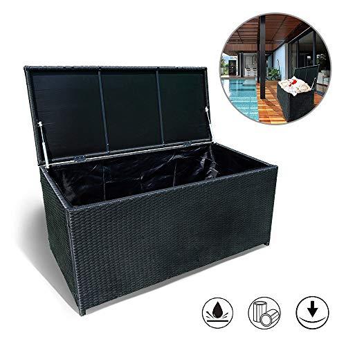 Froadp Auflagenbox Wasserdicht Kissenbox Gartenbox Polyrattan 360L verstärktem Deckel und Gasdruckfedern