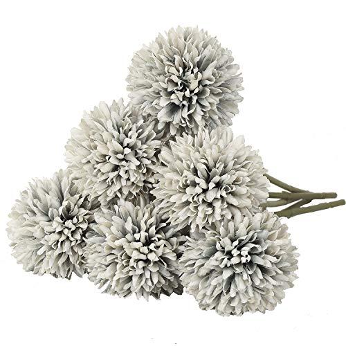 DearHouse Künstliche Blumen, 6 Stück, künstliche Hortensien, Brautstrauß für Zuhause, Garten, Party, Hochzeit, Dekoration hellblau - Kopf-tisch-mittelstücke