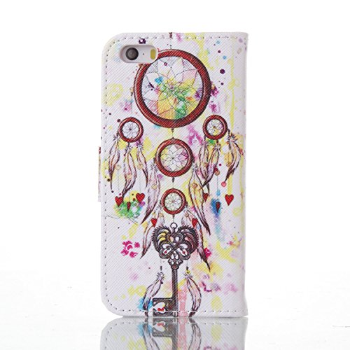 für iphone 5 5S SE Hülle Schwarz ,SKYXD Bunte Blumen Muster PU Leder Folio Klappbar Schutzhülle [Magnetverschluss / Brieftasche Kartenfach / Standfunktion] Klapphülle mit [Kaiserkrone Handyanhänger +  Color-01